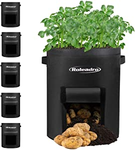 Rolerdro Potato Grow Bags 7 Gallon Plant Grow Bags 5-Pack Heavy Duty Aeration Fabric Pots Thickened Nonwoven , Garden Vegetable Planter with Handles&Access Flap for Vegetables,Fruits,Potatoes-Growing