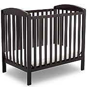 Delta Children Emery Mini Convertible Baby Crib with Mattress, Dark Chocolate