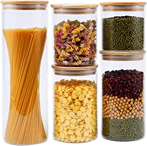 Glass Food Storage Jars, Glass Kitchen Storage Set of 5 with Bamboo Lid Airtight, Food Storage Jars for Kitchen and Pantry Organization Perfect For Flour, Pasta, Coffee, Candy, Cookie and More
