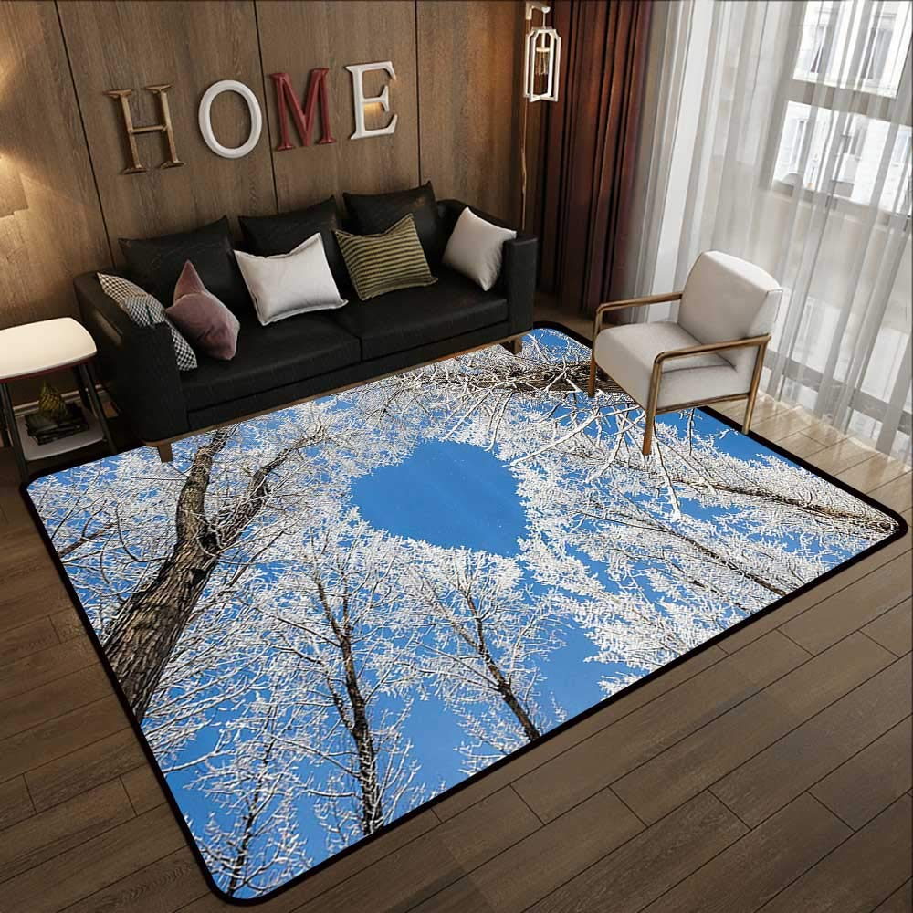 Pattern03 71 x 106 (W180cm x L270cm) Kids Rugs,Winter Decorations,Surreal Winter Scenery with High Mountain Peaks and Snowy Pine Trees,bluee White 63 x 94  Slip-Resistant Washable Entrance Doormat