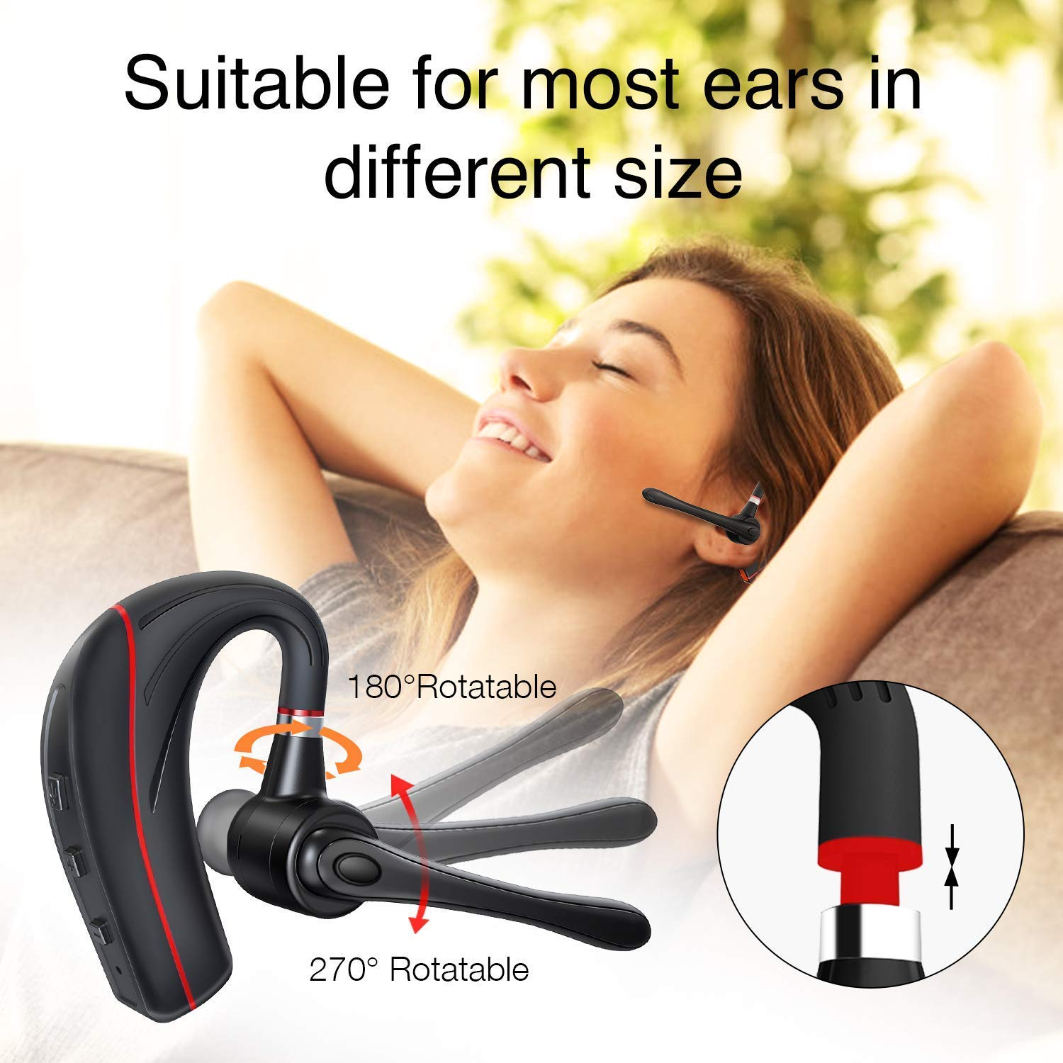 Bluetooth Headset, HandsFree Wireless Earpiece V5.0 with Mic for Business/Office/Driving Call [New Version] by HonShoop (Image #4)