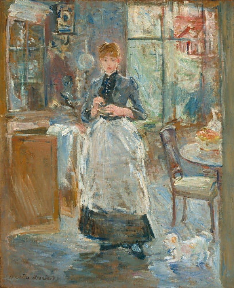 In the Dining Room - Masterpiece Classic - Artist: Berthe Morisot c. 1886  (20x20 Spun Polyester Pillow Case, Custom Border): Amazon.es: Hogar