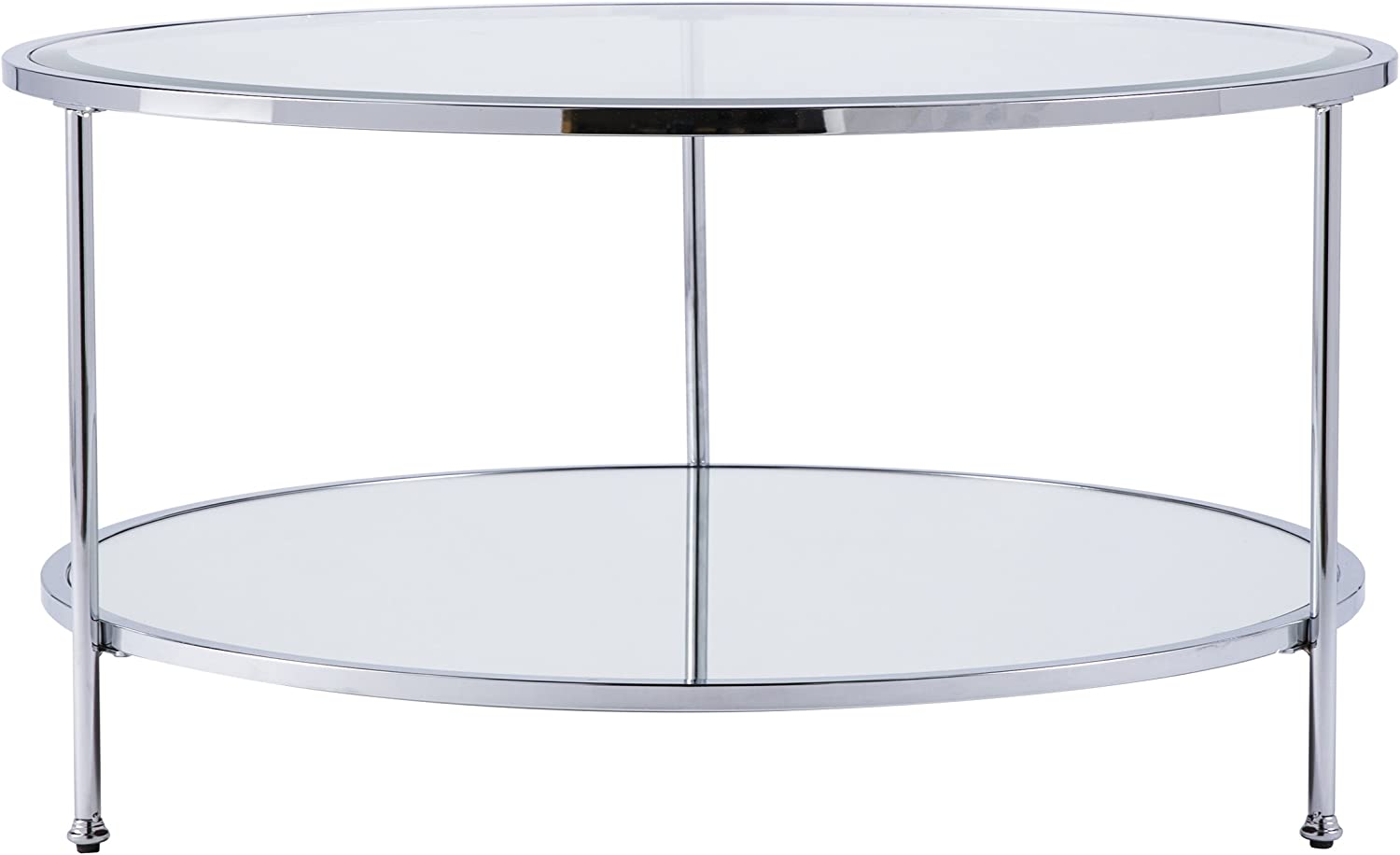 Furniture HotSpot – Round Metal and Glass Coffee Table – Chrome - 33.75