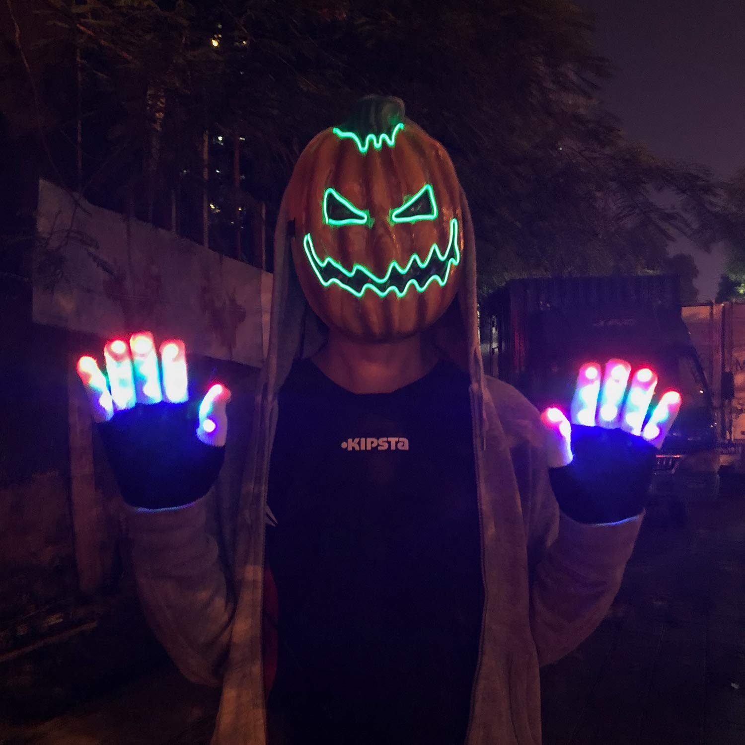 Charlemain Halloween LED Mask, Light up Mask, Flashing Purge Mask, Glowing Light For Scary Party Decoration Party Masks for Festivals/ Halloween/ Bonfire Night/ Party/ Games/ Gift, Yellow Pumpkin