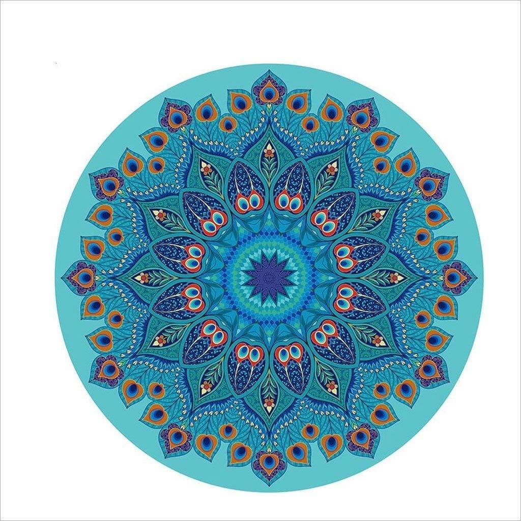 MEIDI Home Naturkautschuk Schweißabsorbierend 140 × 140cm Rundes Pfauenfeder-Muster Rutschfeste Blaue Yogamatte Yogamatte