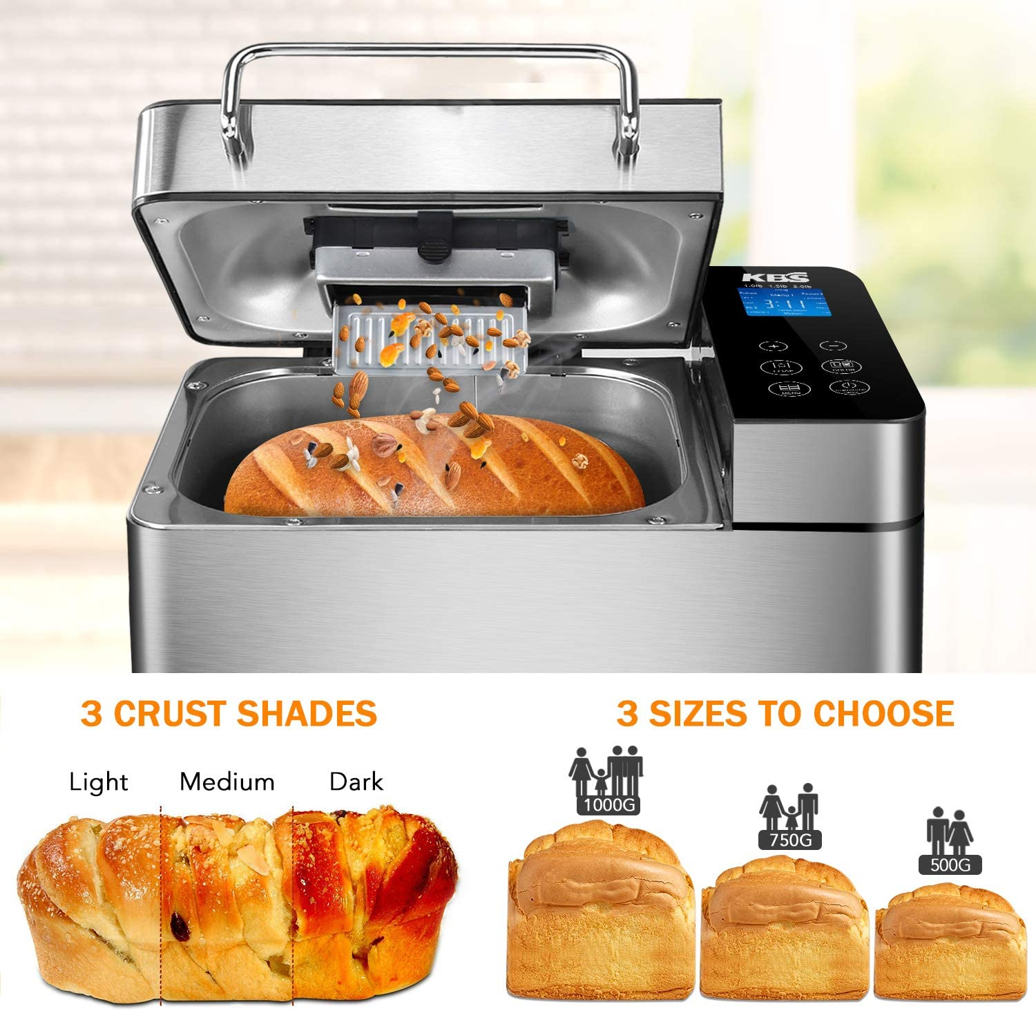 Amazon.com: KBS Máquina de pan de acero inoxidable, 1500W ...