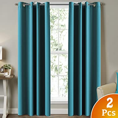 Turquoize Blackout Curtains Thermal Insulated Solid Grommet Blackout Drapes, Window Treatment Solid Grommet Blackout Panels/Drapes for Nursery & Infant Care Curtains,2 Panel, Teal, 52  W x 84  L
