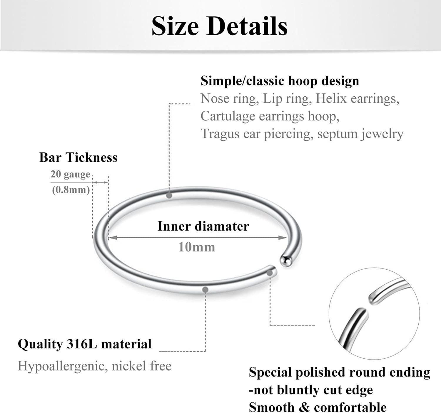 Briana Williams Fake Nose Rings Hoop 20g Surgical Steel Septum Lip Helix Cartilage Tragus Earring Hoop Nose Ring 6mm 8mm 10mm 12mm Faux Body Piercing Jewelry