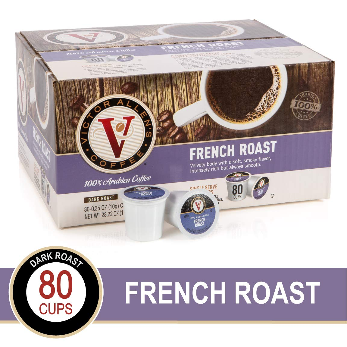 French Roast for K-Cup Keurig 2.0 Brewers, Victor Allen's Coffee Medium Roast Single Serve Coffee Pods, 80 Count by Victor Allen