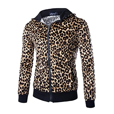 a9105ba3f7 HOTER Mens Leopard Print Hoodies Pockets Pullover Outdoor Hooded  Sweatshirts(M-XXL)