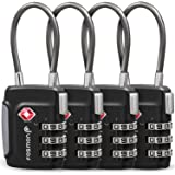 Fosmon TSA Approved Cable Luggage Locks, (4 Pack) Re-settable Easy to Read 3 Digit Combination with Alloy Body and Release Button for Travel Bag, Suit Case & Luggage - Black