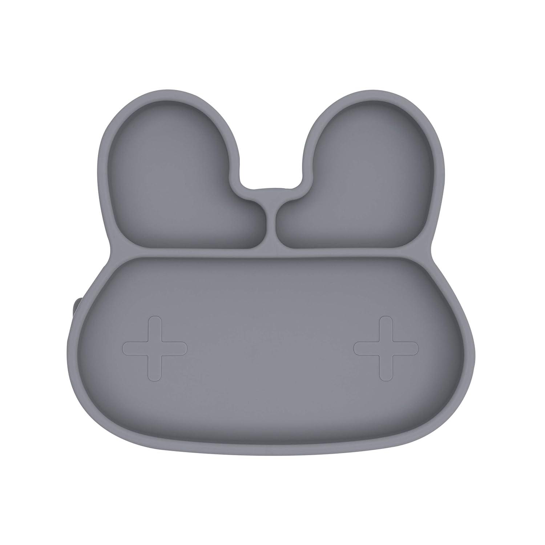 Plato de silicona We Might Be Tiny dise/ño de conejo color gris