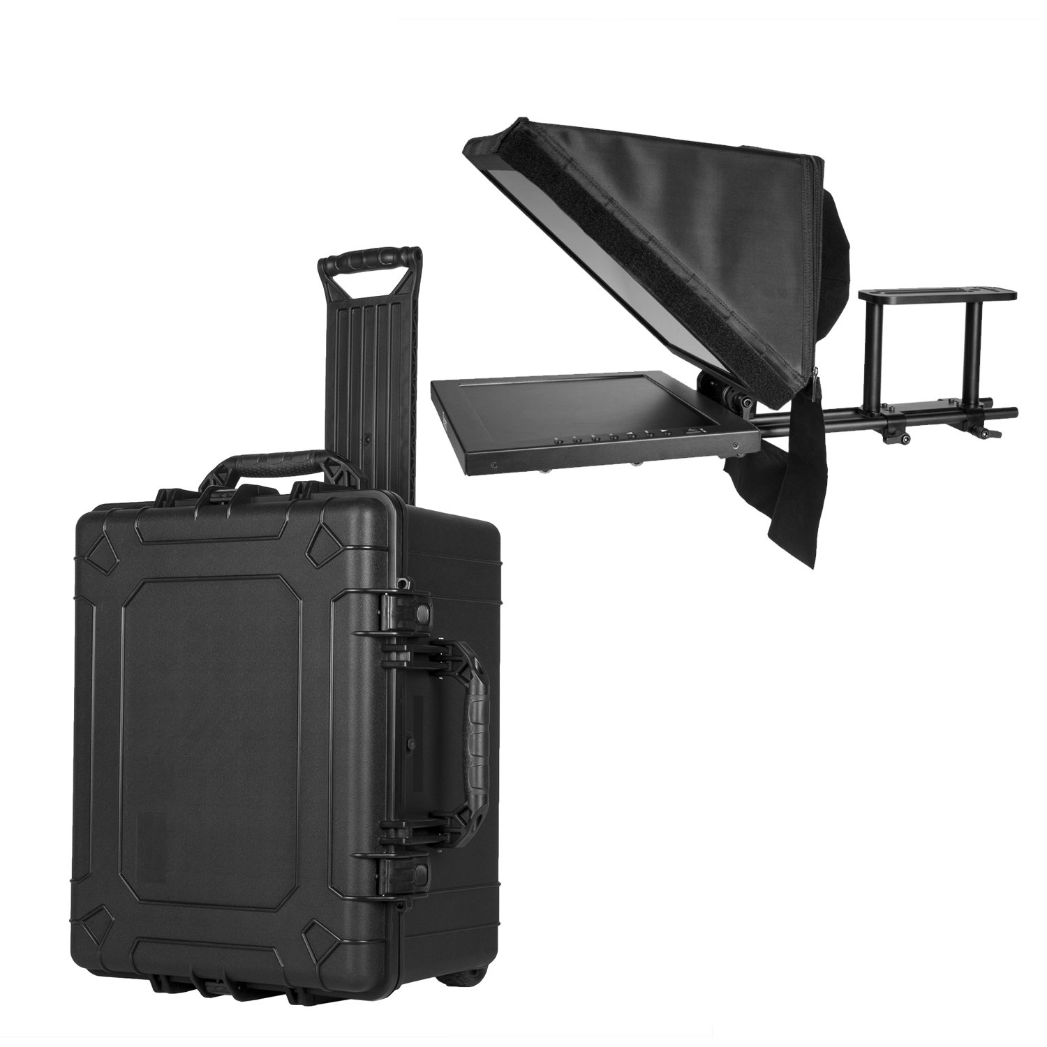 Ikan 15-inch Location/Studio Teleprompter w/Rolling Case, Adjustable Glass Frame, Easy to Assemble, Extreme Clarity (PT3500-TK) - Black by Ikan