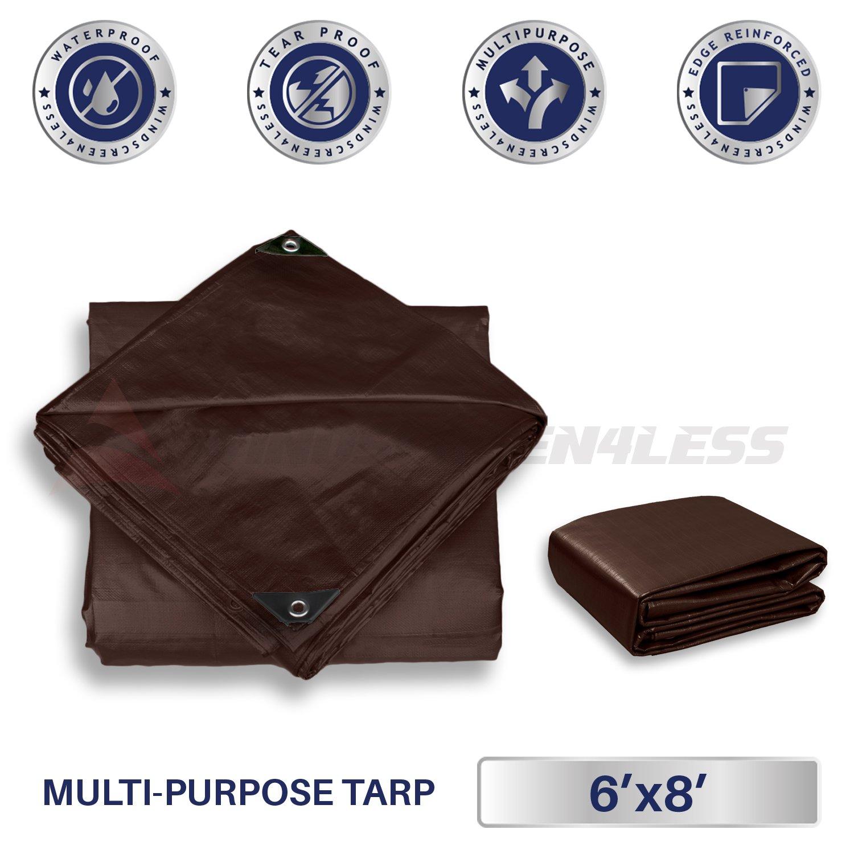 Windscreen4less 6' x 8' Super Heavy Duty 16 Mil Waterproof Dark Brown Poly Tarp