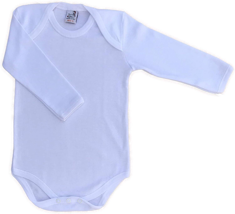 Made in Italy-4 Body per Neonato con Manica Lunga in Caldo Cotone Bianco o Fantasia