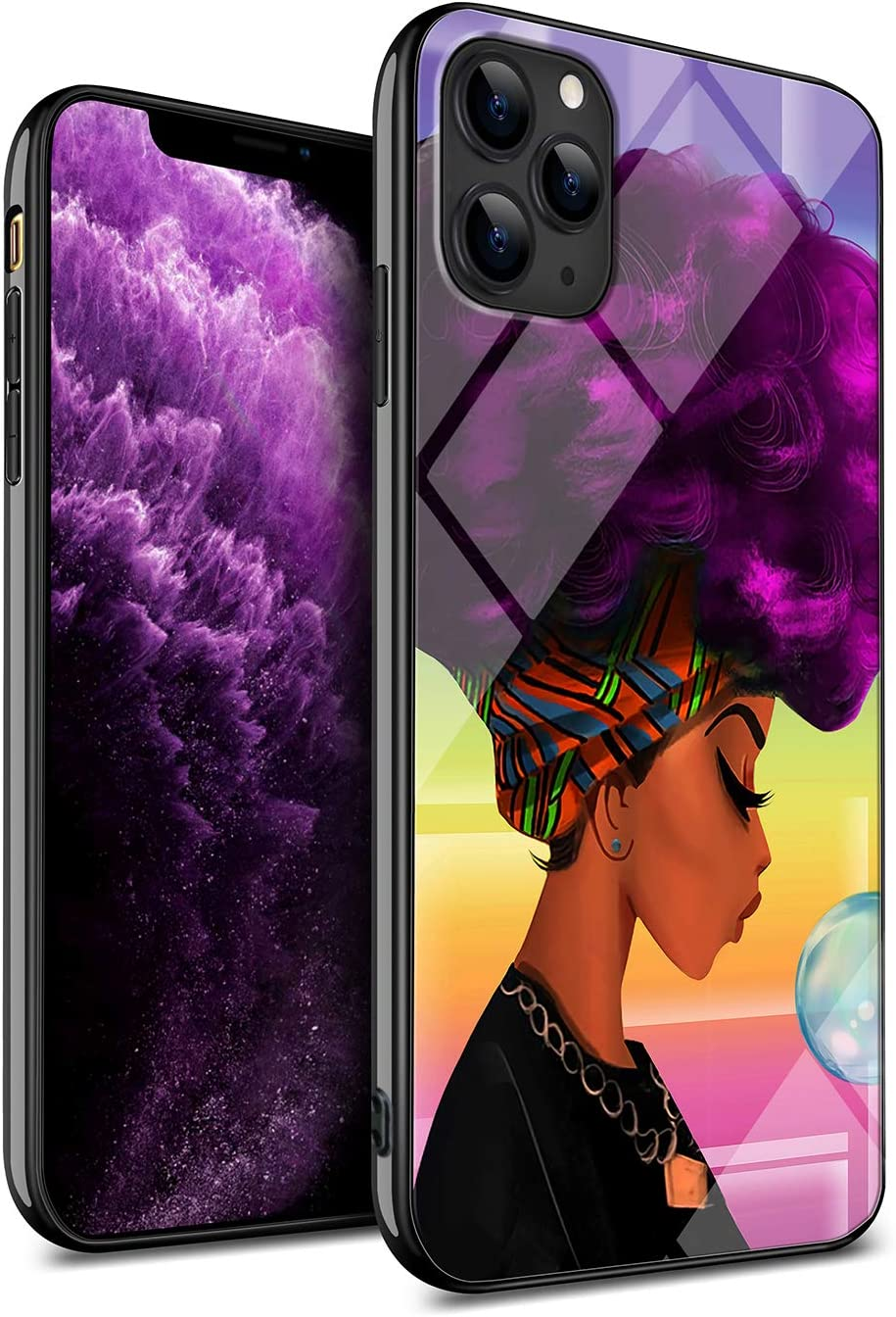 KITATA iPhone 11 Pro Max Case African American Black Women Afro Girls Africa Melanin Purple Hair Art Girly Cute Art Design, Slim Fit Thin Grip Soft TPU and Hard Plastic Phone Case Protective Cover