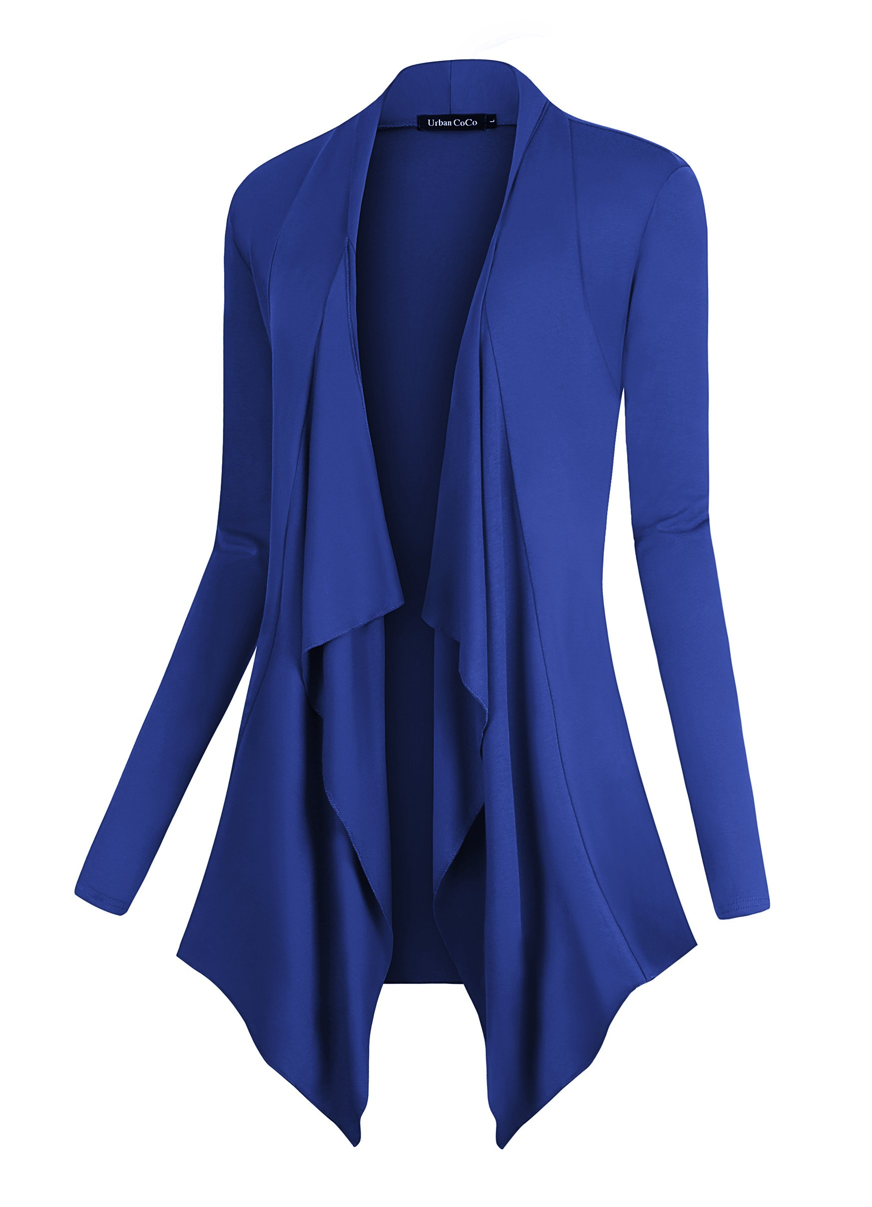 Urban CoCo Women's Drape Front Open Cardigan Long Sleeve Irregular Hem (XL, Royal Blue)