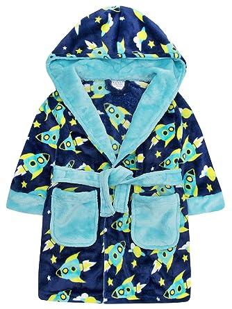 Flannel Fleece Night Robe Minikidz Infant Boys Kids Star Print Hooded Dressing Gown