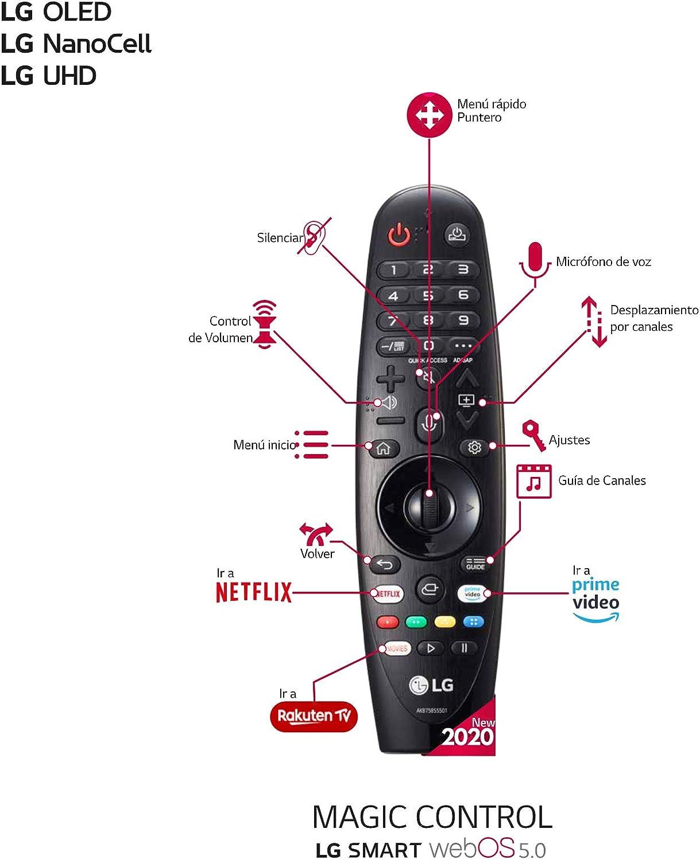 LG Magic Control MR20GA - Mando a Distancia para Smart TV LG 2020 (Reconocimiento de Voz, apunta y navega, Rueda de Scroll, Teclado numérico, Botones Netflix, Prime Video y Rakuten TV) Color