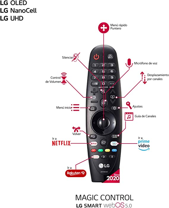 LG Magic Control MR20GA - Mando a Distancia para Smart TV LG 2020 (Reconocimiento de Voz, apunta y navega, Rueda de Scroll, Teclado numérico, Botones Netflix, Prime Video y Rakuten TV) Color
