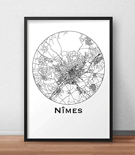 Poster Nimes France Minimalist Map City Map Art Of Nimes Poster