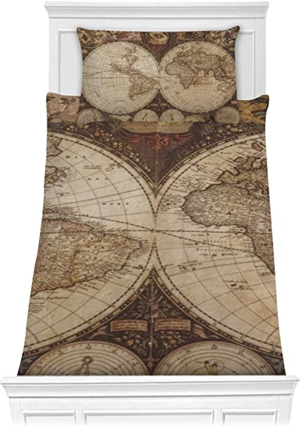 Amazon.com: RNK Shops Vintage World Map Comforter Set - Twin XL ...