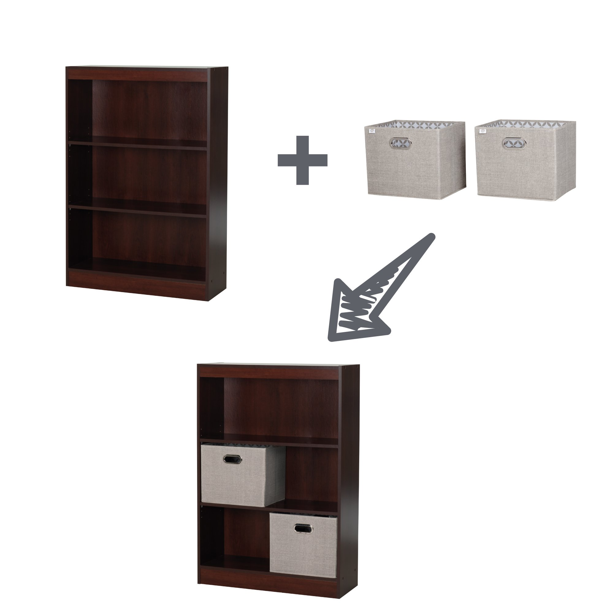 South Shore Axess 3-Shelf Bookcase with 2 Fabric Storage Baskets, Pure White by South Shore (Image #5)