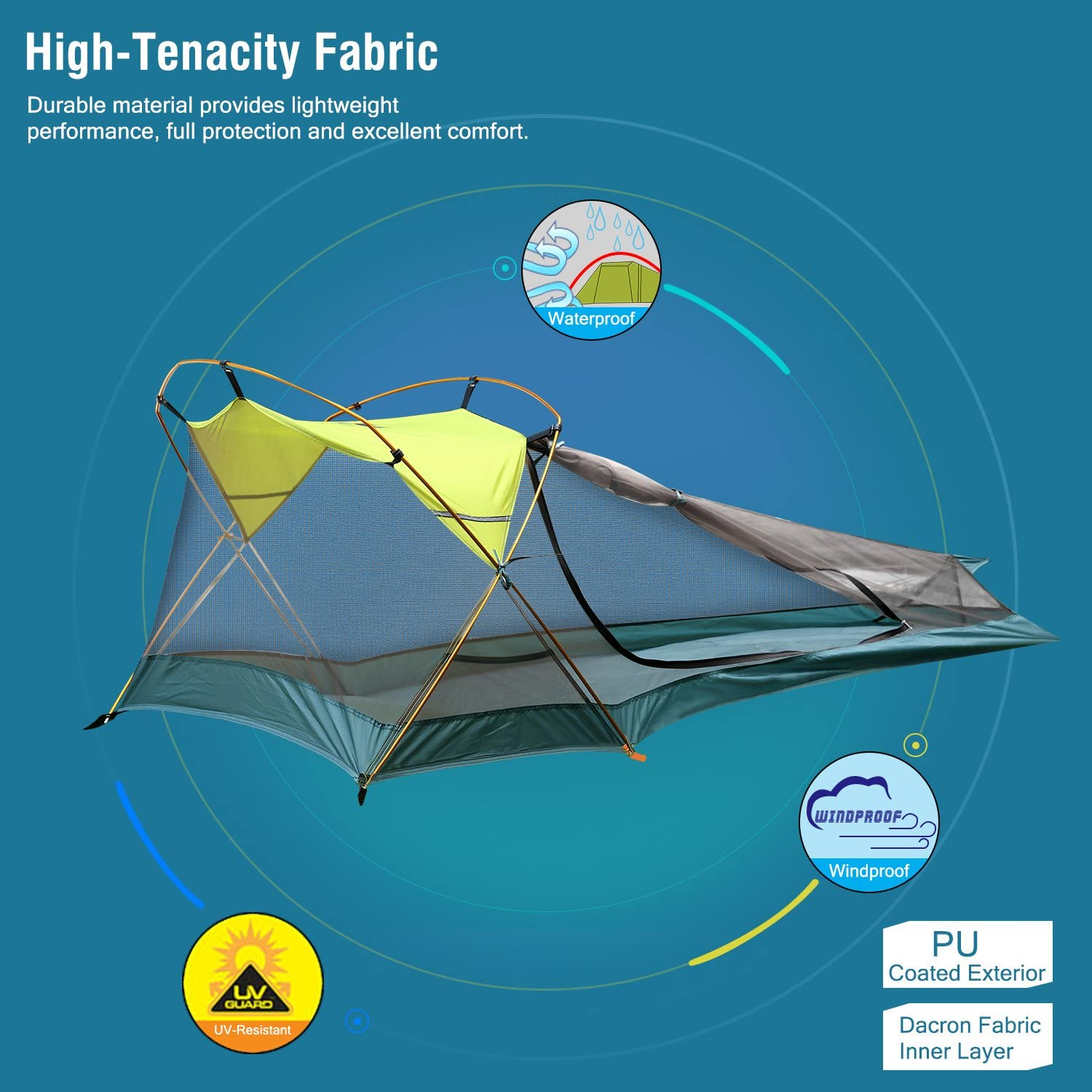Rhino Valley Camping Tent, Waterproof Portable Lightweight