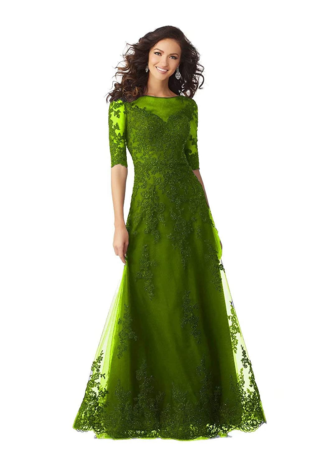 color 10 Unions Women Long Formal Evening Dresses Lace Applique Beaded Prom Party Gowns