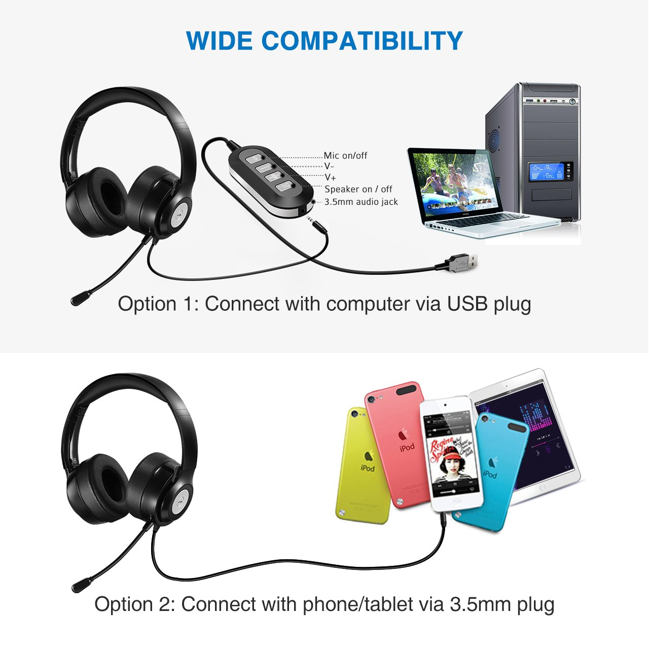 Vtin Headset With Microphone Usb Headset 3 5mm Computer Headphone Headset 619125641755 Ebay