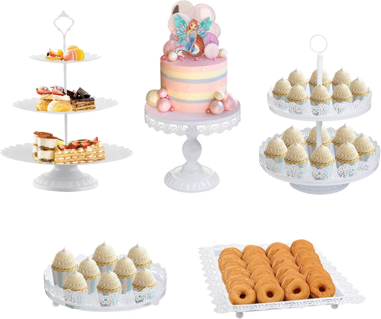 5 Pack Cake Stands Set White Metal Cupcake Holder Parties Dessert Display Plate Decor Serving Platter