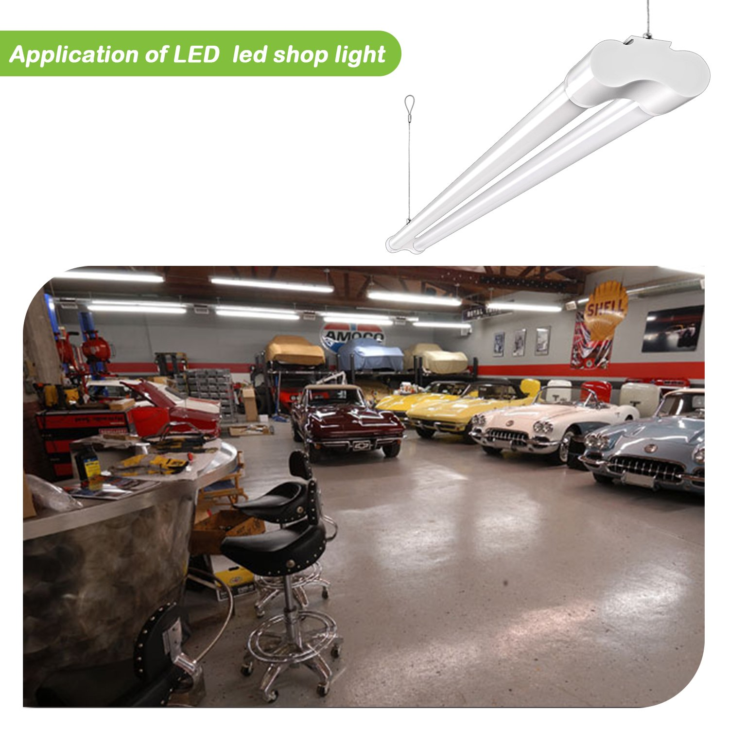 Hykolity 4FT 36W LED Shop Light with cord, 3600lm Hanging or FlushMount Garage Utility Light, 5000K Overhead Workbench Light, Light Weight, Shatter Proof 64w Fluorescent Fixture Replacement- 4 Pack by hykolity (Image #8)
