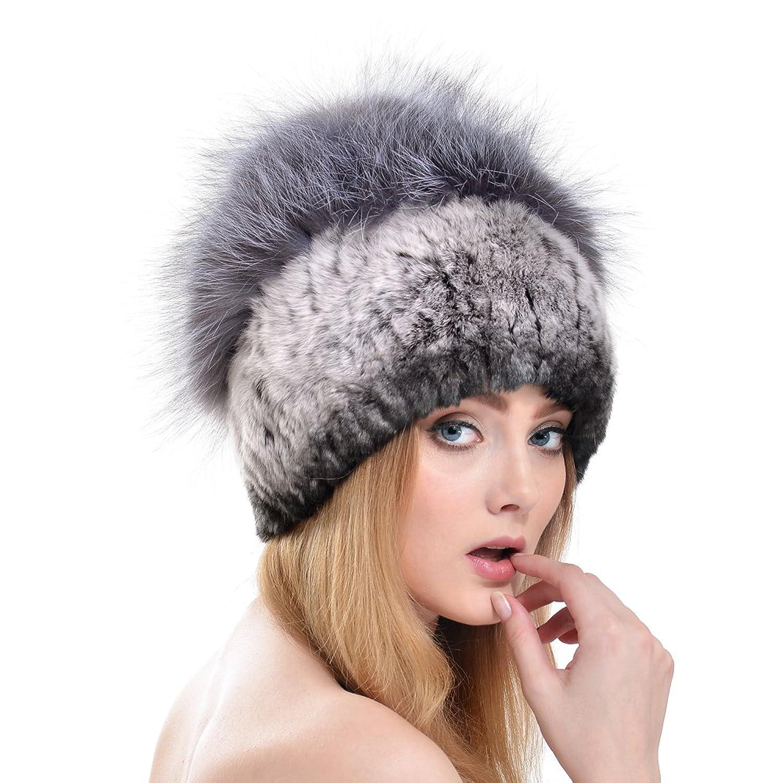 Hhdress Real Rex Rabbit Fur Ears Caps Fox Fur Pom Thicken Ski Hat