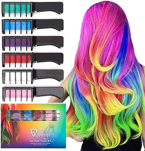 Qivange Haarfarbe kamm Haarkreide Kamm Auswaschbar Temporär Haarfarbe ungiftig Haarfärbemittel Kreide Kamm für Kinder Party, Cosplay, Halloween, ...