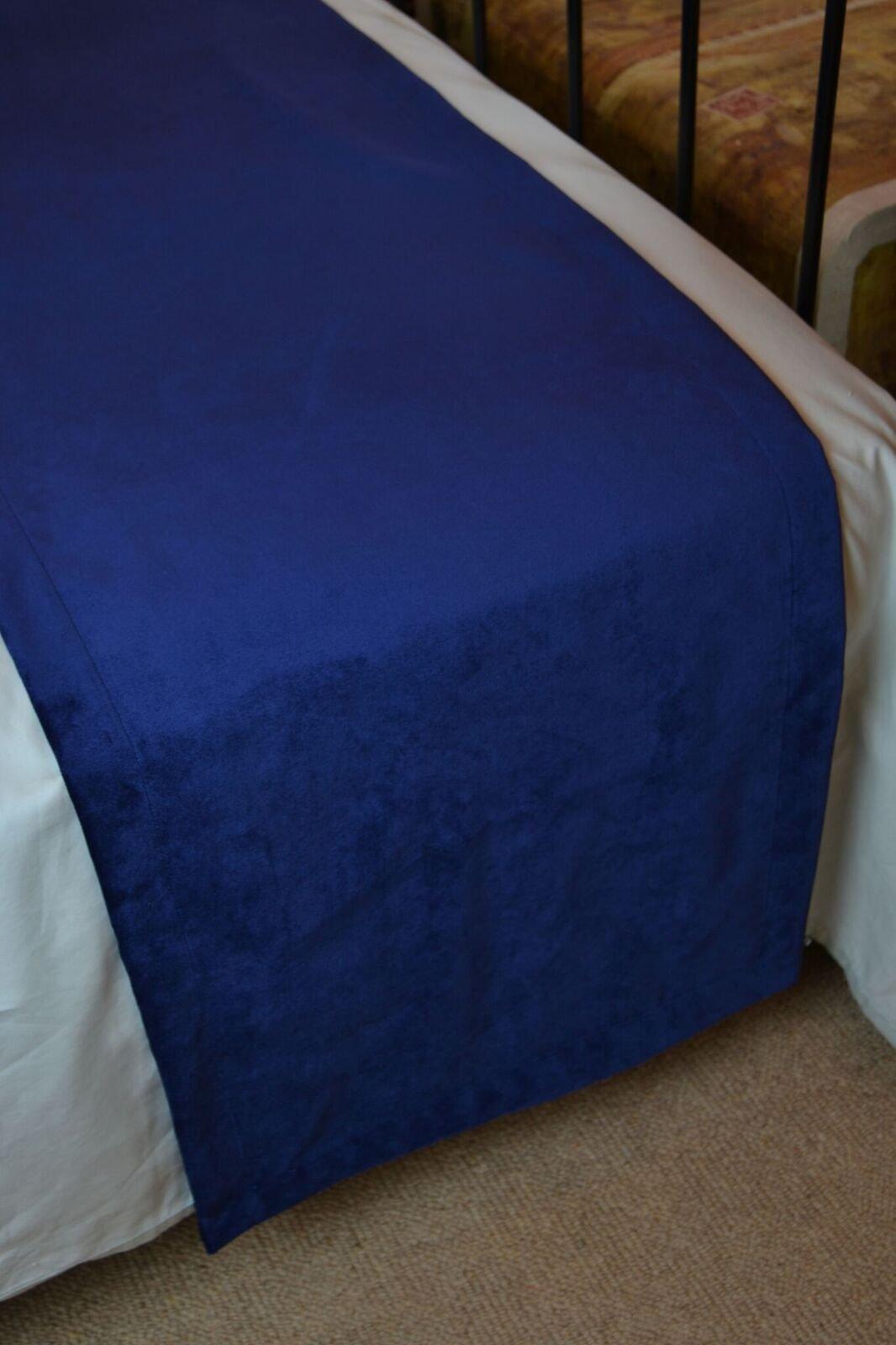McAlister Matt Velvet | Decorative Bed Runner Scarf | 20x95 Navy Blue | Lush, Plush & Soft Classic Modern Accent Décor