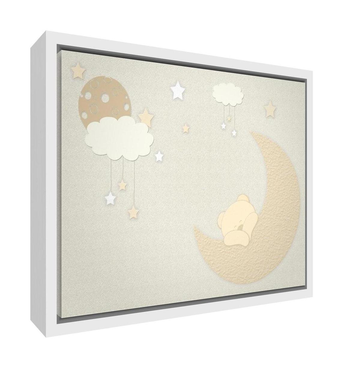 Feel Good Art Eco-Printed and Framed Nursery Canvas with solid White Wooden Frame (64 x 44 x 3 cm, Large, Soft Pink, Bear moon) BEARMOON-1624FCWHT-13