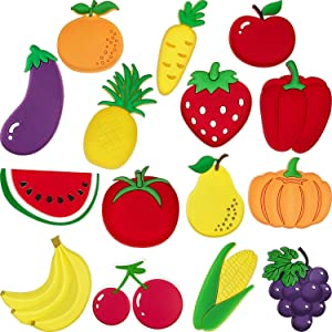 15 Pieces Fruit Fridge Magnets Vegetable Refrigerator Magnets Fruit Whiteboard Magnetic Stickers for Home Decoration