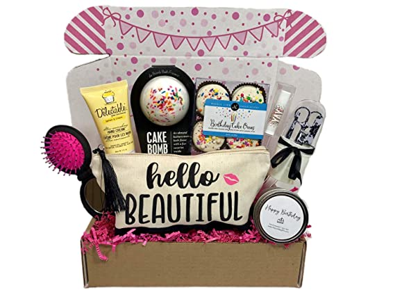 Amazon Com Women S Birthday Gift Box Set 8 Unique Surprise Gifts For Wife Aunt Mom Girlfriend Sister From Hey It S Your Day Gift Box Co Grocery Gourmet Food