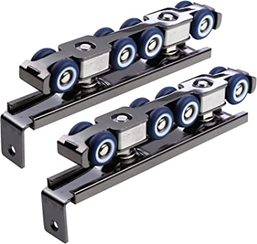 80kg Heavy Duty Door Hanging Roller Hardware Kit Cold Rolled Steel Sliding Rail with 8 Wheels GMKD 2 Pair Door Hanging Rail Roller for Sliding Wooden Doors of Home Office