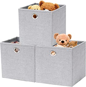 childishness ndup Foldable Cube Storage, 3 Packs, Collapsible Cube Baskets with Dual Handles, Linen Fabric Storage Boxes for Home Bedroom, Playroom, Nursery Closet Organizers 12x12, Light Grey