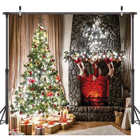 Dudaacvt 8x8ft Christmas Backdrop Fireplace Red Socksfor Children Portrait Xmas Party Studio Prop D0480808