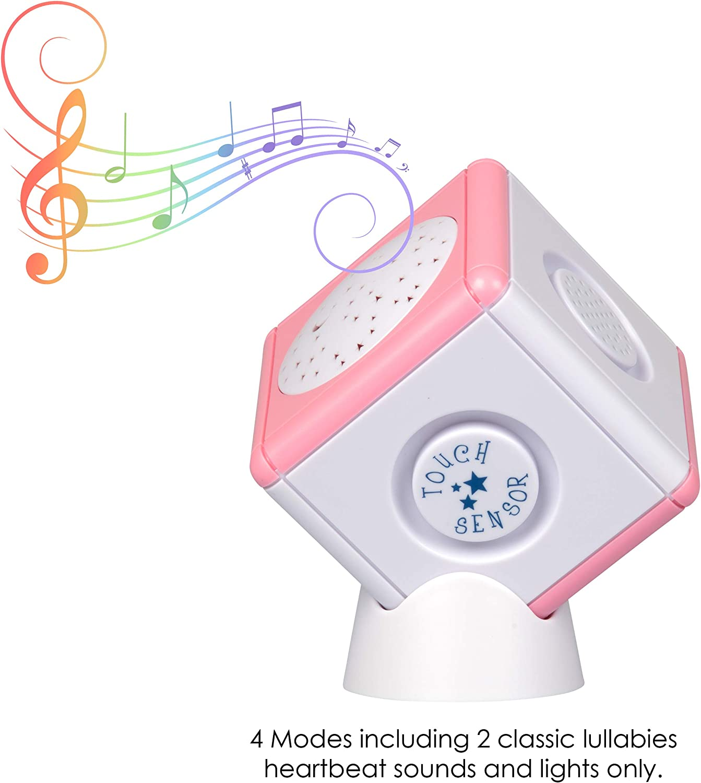 color rosa Cubo calmante para dormir al beb/é con proyector de luz con estrellas para la noche y sensores t/áctiles port/átil musical Lullaby Light Cube