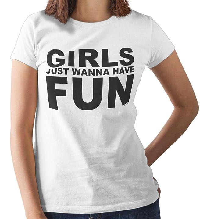 Girls Just Wanna Have Fun 80s Slogan Tee. S to 3XL