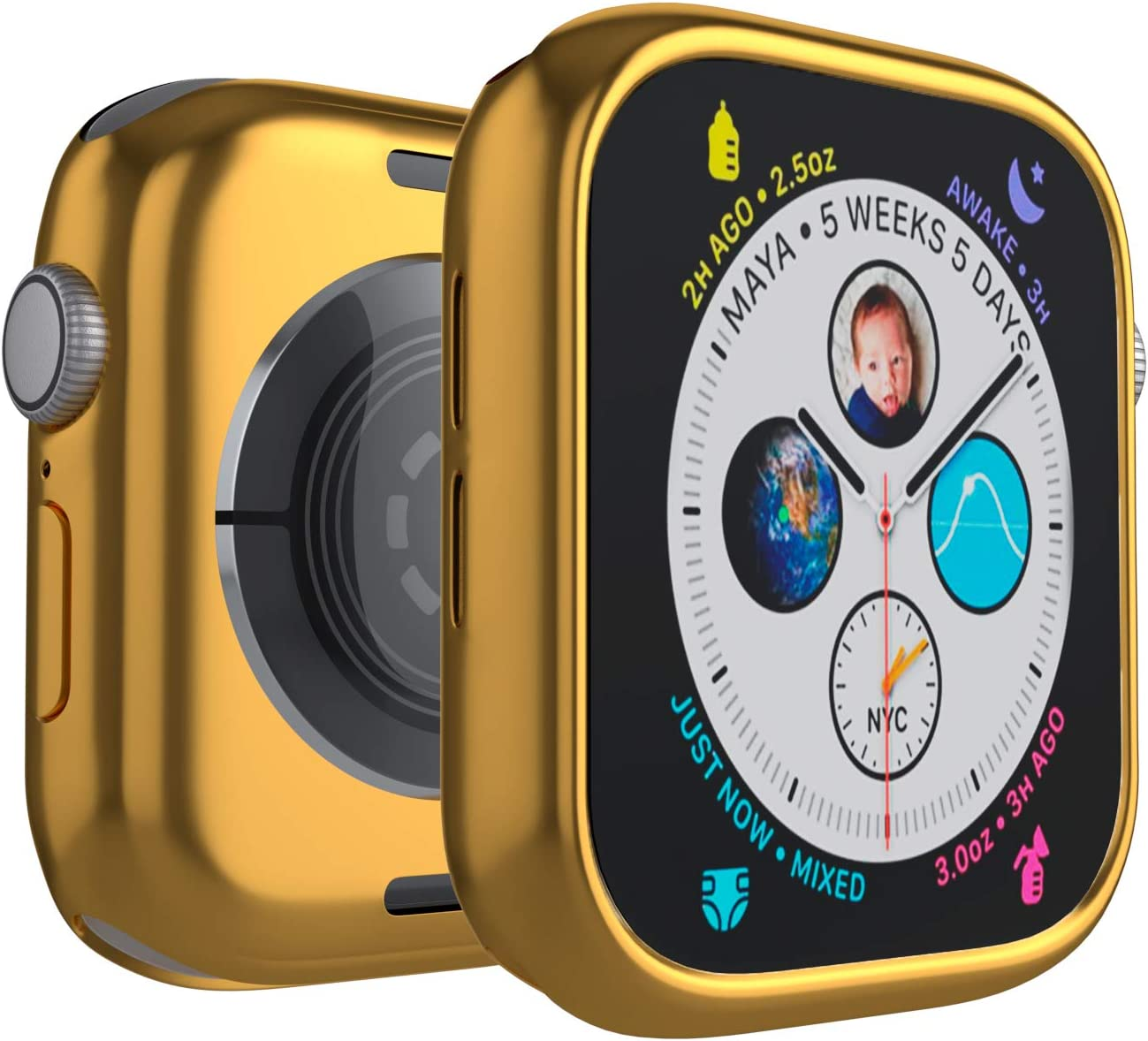Case for Apple Watch 38mm Series 3 Series 2 Series 1 Edge Bumper Protection Soft TPU Ultra-Slim Lightweight Resistant Protective Case Cover, Gold