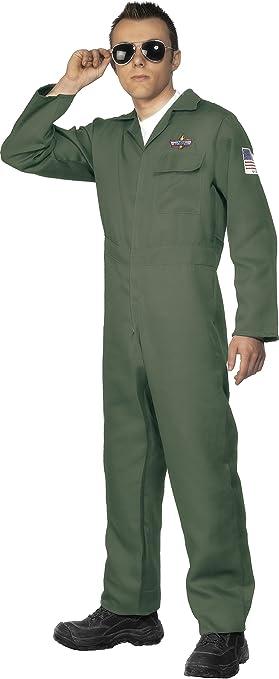 Smiffys-28623L Disfraz de Aviador, con Enterizo de Cremallera, Color Verde, L-Tamaño 42