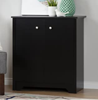 South Shore Small 2 Door Storage Cabinet With Adjustable Shelf, Pure Black