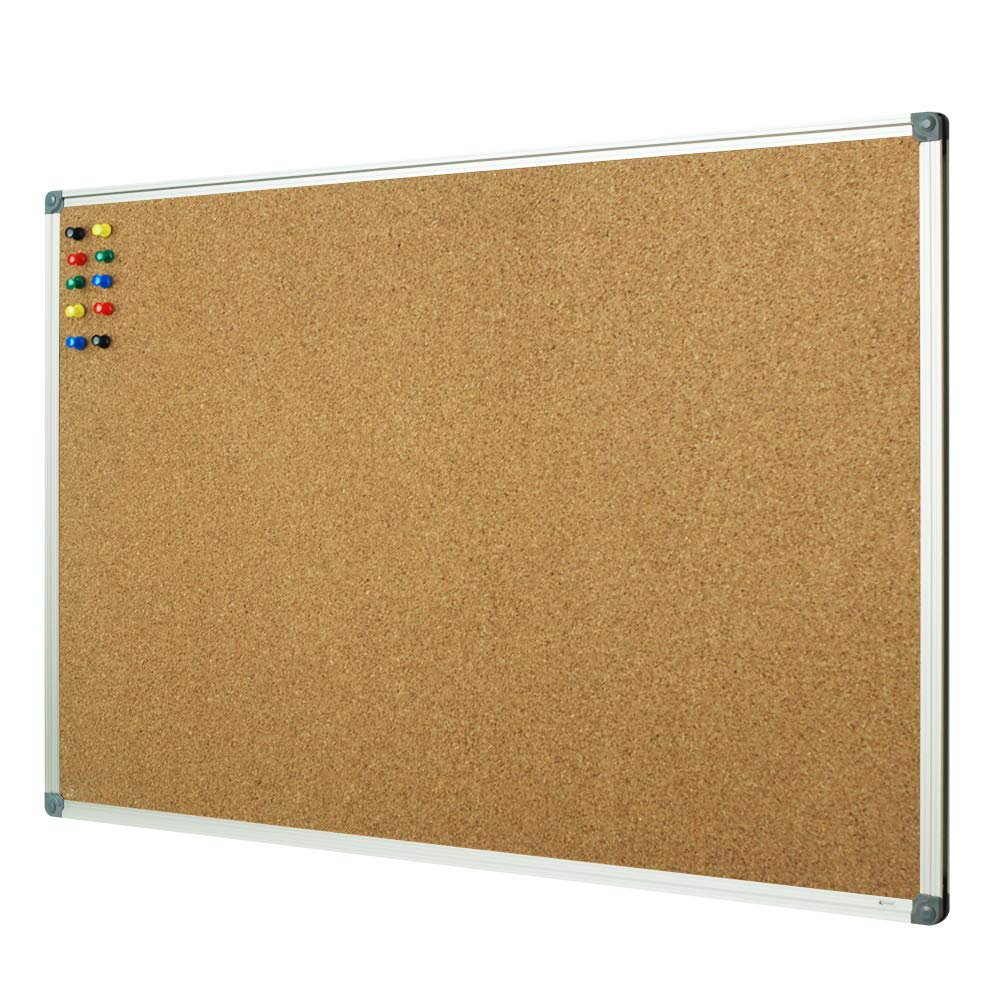 Lockways Cork Board Bulletin Board, Double Sided Corkboard 36 x 24 Inch, Notice Board 3 x 2, Silver Aluminium Frame