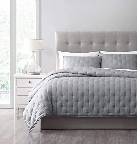 Cooling Bamboo Fiber Blanket Diamond Quilted Bedspread Coverlet Set Light Gray
