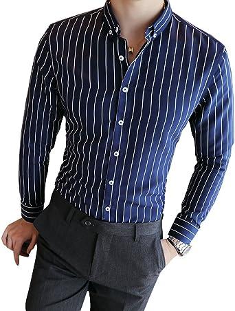 Camisa De Los Hombres Manga Larga Rayas Verticales Solapa Trabajo Slim Fit Ocio: Amazon.es: Ropa y accesorios