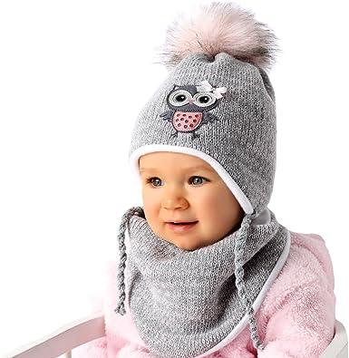 AJS Baby Mädchen Winterset Wintermütze Bommelmütze gefüttert Halstuch mit Wolle